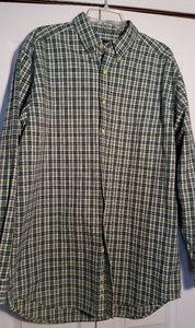 Eddie Bauer Green Check M Tall Shirt